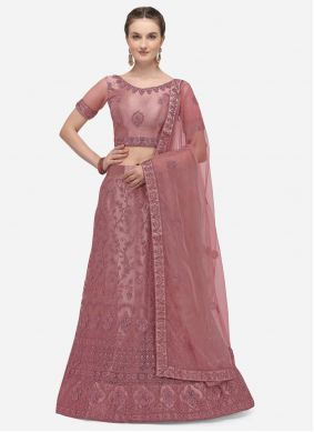 A Line Lehenga Choli Embroidered Net in Lavender