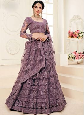 A Line Lehenga Choli Embroidered Satin Silk in Violet