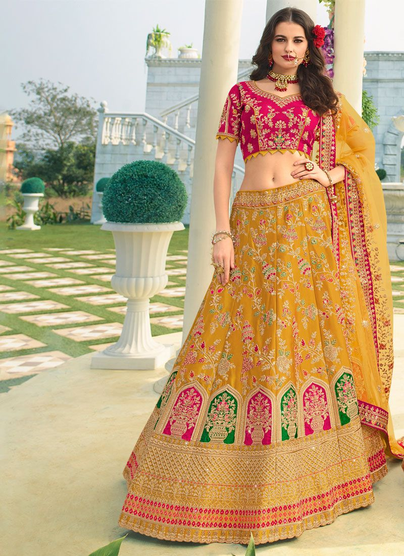 A Line Lehenga Choli Embroidered Silk in Mustard