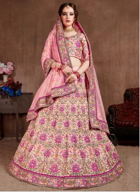 A Line Lehenga Choli Embroidered Silk in Pink
