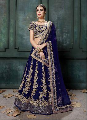 Blue A Line Lehenga Choli For Engagement