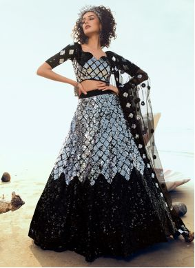 A Line Lehenga Choli Sequins Net in Black and Grey
