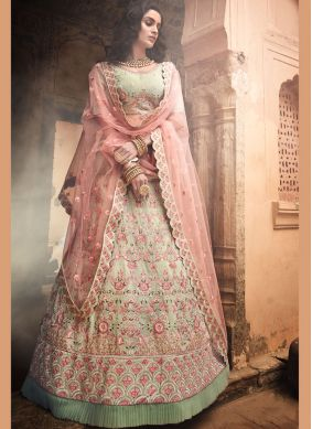A Line Lehenga Choli Thread Georgette in Green