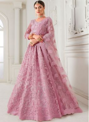 Absorbing Net Pink Embroidered Trendy A Line Lehenga Choli