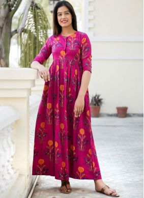 Absorbing Pink Abstract Print Muslin Party Wear Kurti