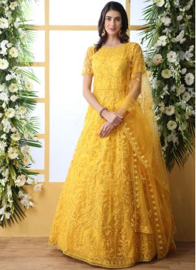 Absorbing Thread Work Yellow Net Designer Gown