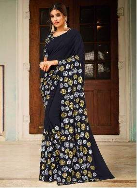 Abstract Print Black Faux Georgette Saree