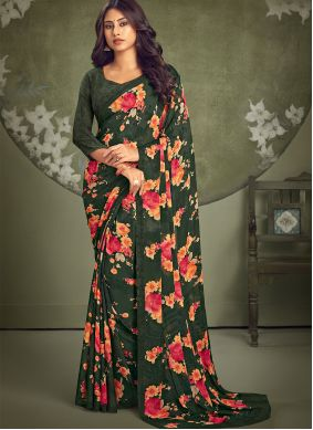 Abstract Printed Green Faux Georgette Saree