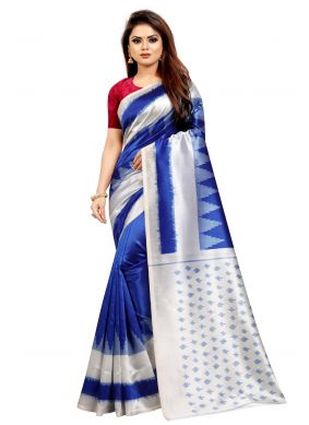 Blue Abstract Print Casual Traditional Saree
