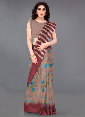 Beige Abstract Print Cotton Printed Saree