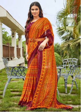 Abstract Print Fancy Fabric Multi Colour Saree