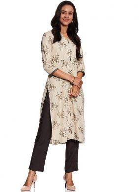 Abstract Print Fancy Fabric White Party Wear Kurti