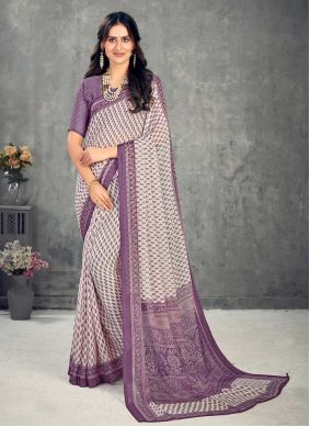 Abstract Print Faux Chiffon Saree in Lavender