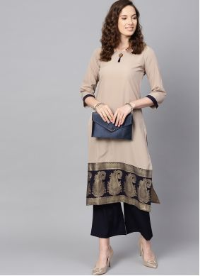 Abstract Print Faux Crepe Casual Kurti in Beige