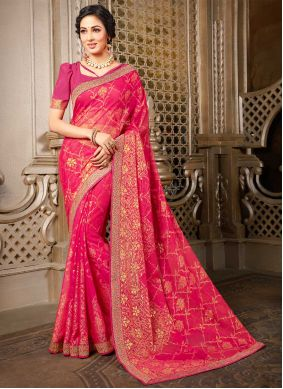 Pink Abstract Print Faux Georgette Designer Saree