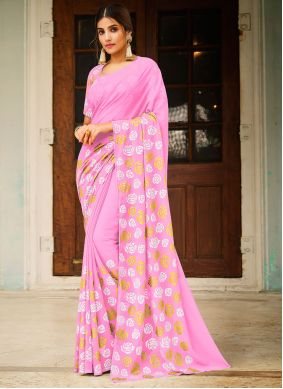 Abstract Print Faux Georgette Pink Saree
