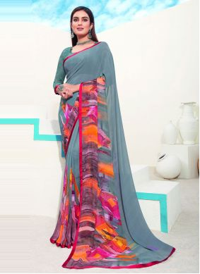 Abstract Print Faux Georgette Saree in Multi Colour