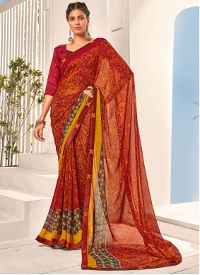 Multi Colour Abstract Print Faux Georgette Saree