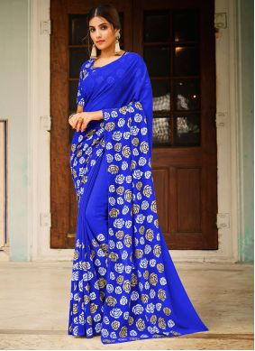 Abstract Print Faux Georgette Saree in Blue