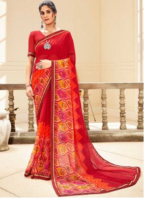 Abstract Print Faux Georgette Traditional Saree