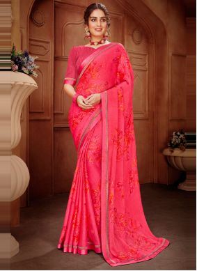 Abstract Printed Hot Pink Faux Georgette Saree