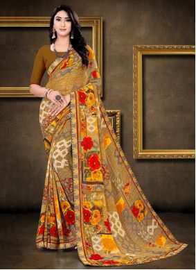 Abstract Print Faux Georgette Multi Colour Saree