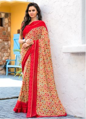Abstract Print Multi Colour Weight Less Casual Saree