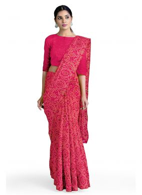 Abstract Print Pink Faux Georgette Casual Saree