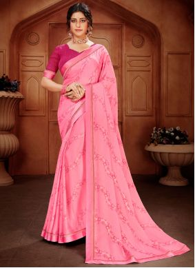 Abstract Print Pink Faux Georgette Saree