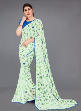 Multi Colour Georgette Abstract Printed Saree