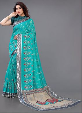 Turquoise Cotton Abstract Printed Saree