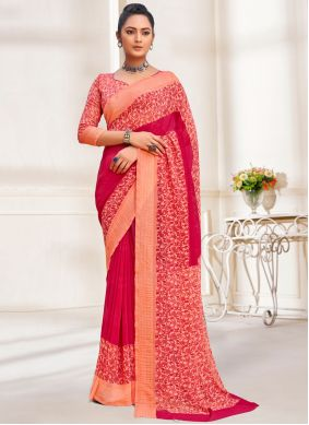 Red Faux Georgette Abstract Printed Saree