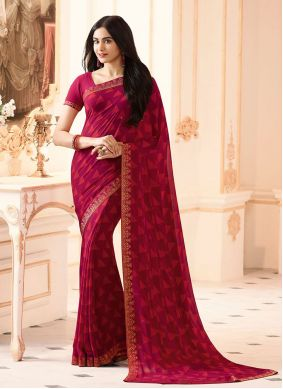 Abstract Print Rani Faux Georgette Printed Saree