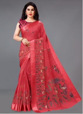 Abstract Print Red Cotton Printed Saree