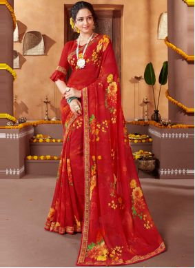 Faux Georgette Abstract Print Red Saree