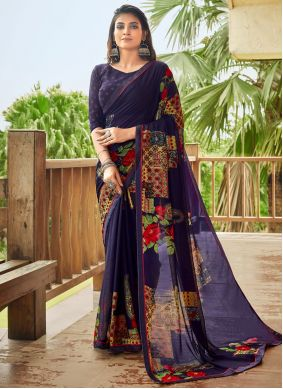 Blue Abstract Printed Fancy Fabric Saree