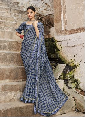 Abstract Print Weight Less Multi Colour Casual Saree