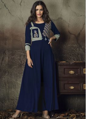 Adorable Blue Embroidered Party Wear Kurti