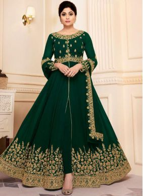 Adorable Georgette Embroidered Green Designer Salwar Suit
