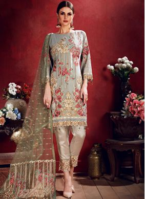 Adorable Grey Georgette Salwar Suit