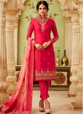 Adorning Georgette Embroidered Magenta Pant Style Suit