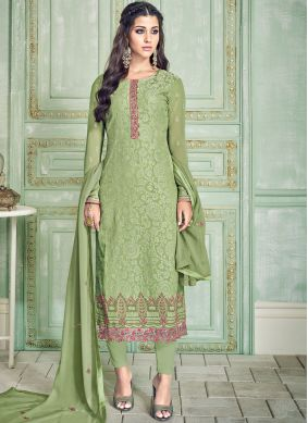 Adorning Green Embroidered Pant Style Suit