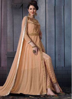 Adorning Peach Faux Georgette Pant Style Suit