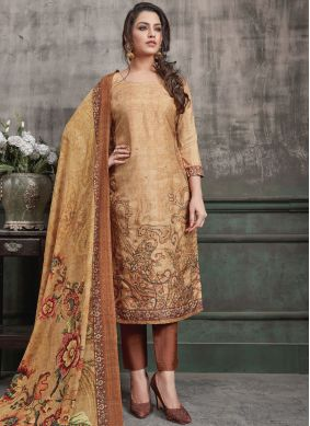 Aesthetic Art Silk Digital Print Brown Designer Straight Suit