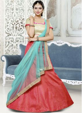 Aesthetic Art Silk Red Lace Lehenga Choli