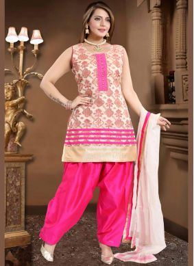 Aesthetic Banglori Silk Fancy Cream and Pink Readymade Suit