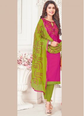 Aesthetic Cotton Satin Embroidered Churidar Suit