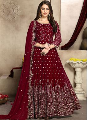 Aesthetic Faux Georgette Party Trendy Anarkali Salwar Kameez
