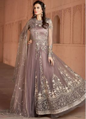 Aesthetic Lavender Resham Floor Length Anarkali Suit