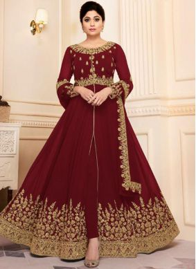 Aesthetic Maroon Embroidered Georgette Designer Salwar Suit